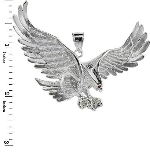 Petits Merveilles D'amour - 14 ct Or 585/1000 Eagle Blanc Avec de Oxyde de Zirconium (Large) Pendentif
