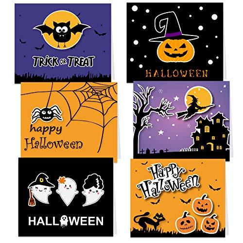 Halloween Greeting Cards (TUPARKA 30 Pack Halloween Greeting Cards with Envelopes and Halloween Stickers, 6 Halloween)