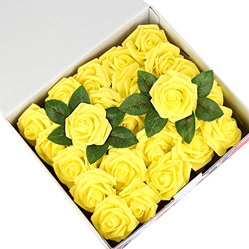 Febou Artificial Flowers, 50 pcs Real Touch Artificial Foam Roses Decoration DIY for Wedding Bridesmaid Bridal Bouquets Centerpieces, Party Decoration, Home Office Decor (Standard Type, Yellow) ()