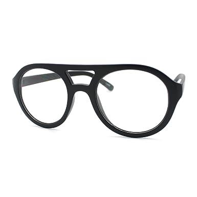 JuicyOrange Super Retro Eyeglasses Clear Lens Flat Top Round Double ...