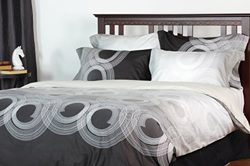 Roundabout 3-piece reversible duvet cover set, Queen, geometric, grey, brown, white