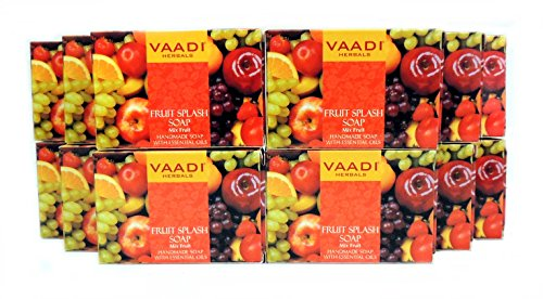 Fruit Splash Bar Soap with Extracts of Orange, Peach, Green Apple and Lemon - Handmade Herbal Soap (Aromatherapy) with 100% Pure Essential Oils - ALL Natural - Skin Rejuvenating Therapy - Each 2.65 Ounces - Pack of 12 (32 Ounces, 2 Lb) - Vaadi Herbals