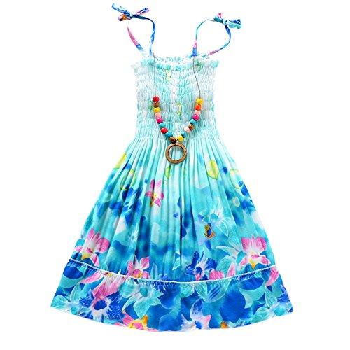 zhangwei Girls Bohemian Dresses Floral Sleeveless Rainbow Beach Sundress with Necklace Summer Sling Dress