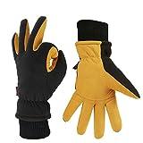 OZERO Ski Gloves, -40°F Cold Proof Winter Snow Work Glove with Elastic Cuff - Deerskin Suede Leather Palm and Polar Fleece Back with Warm Heatlok Insulated Cotton & Waterproof TPU - Tan (Medium)