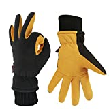 : OZERO Winter Gloves -30°F Coldproof Thermal Ski Glove - Deerskin Leather Palm & Polar Fleece Back with Insulated Cotton - Windproof Water-resistant Warm hands in Cold Weather for Women Men - Tan(L)
