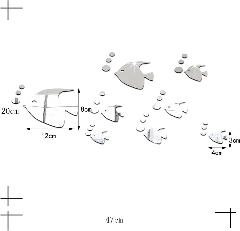 ufengke® 8 Piezas 3D Peces Tropicales Efecto de Espejo Pegatinas ...