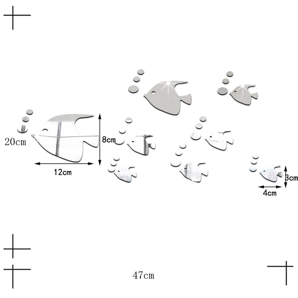 ufengke/® 8 Piezas 3D Peces Tropicales Efecto de Espejo Pegatinas de Pared Dise/ño de Moda Etiquetas del Arte Decoraci/ón del Hogar Plata