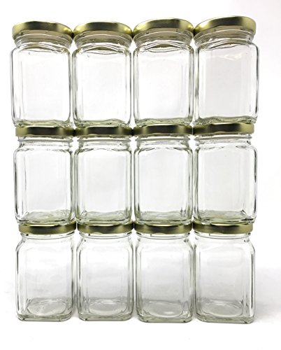 ((12 Pack) 6 oz (190 ml) Victorian Square Glass Jar with Gold Metal Lid by Packaging For You)