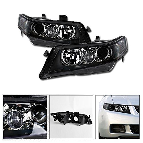 VXMOTOR for 2003-2008 Acura TSX CL9 - Projector Black Housing Clear Head Lights Headlights Turn Signal Corner Light Lamp NB