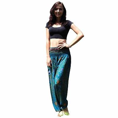 Wintialy Women's Floral Boho Genie Aladdin Smocked Waist Harem Pants