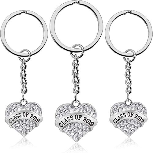 3 Pieces Graduation Keychains Class of 2019 Graduate Jewelry Gifts for Classmates, Teachers and Friends (Silver)