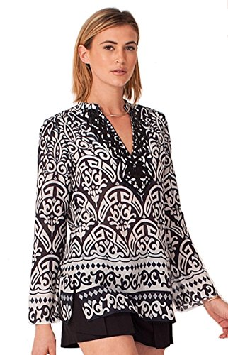 Hale Bob Women's Corine Silk Tunic - 5HTF2875 (Large, Black)