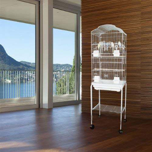 Mcage 2 Color, Large Canary Parakeet Cockatiel Lovebird Finch Roof Top Bird Cage with Stand -18''x14''x60'' (White) by Mcage