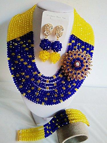 laanc 10líneas azul y amarillo cristal boda de Nigeria África Bead collar pulsera pendientes joyería conjuntos