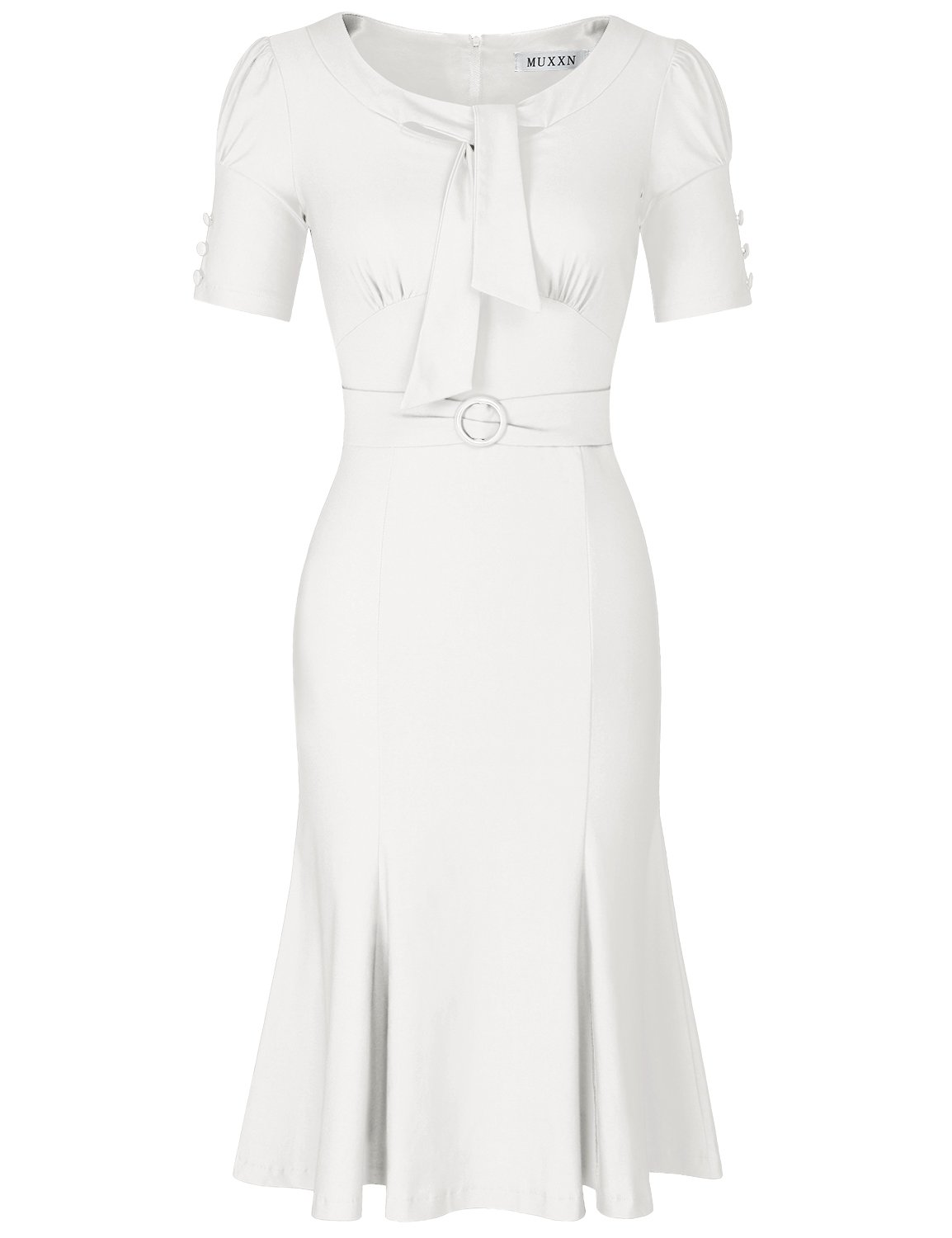 MUXXN Womens 50s 60s Style Short Sleeve Package Hip Evening Party Dress (White M)