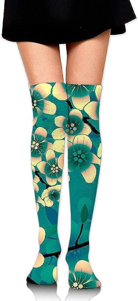 High Elasticity Girl Cotton Knee High Socks Uniform Blooming Florals Women Tube Socks
