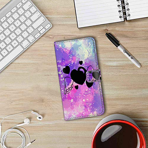 Phone Wallet Case Fits for iPhone Xs Max [6.5inch] Heart Wings Drop Protection ()