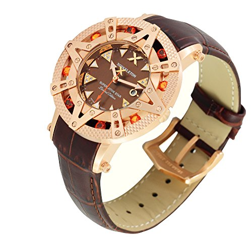 Xoskeleton Women's 41mm Superlative Star Burnt Sienna Topaz Gemstone Limited Edition Brown Mother-of-Pearl Swiss Movement Leather Strap Watch - (Burnt Brown Pearls)