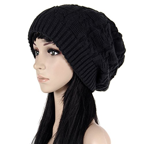 ISEYMI Chunky Cable Knit Beanie Hat Double Layers Winter Warm Skully Cap Soft Stretch, Black, (Chunky Cable Knit Hat)