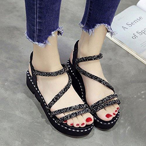 Noir épaisses Huateng Semelles Femmes Bout Sandales à Paillettes Ouvert qgROwg6