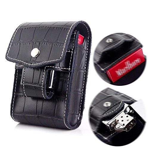 Black Cigarette Case Wallet with Lighter Holder Waist Belt Loop Cigarette Pack Case Box for Kind - Holder Pack Cigarette