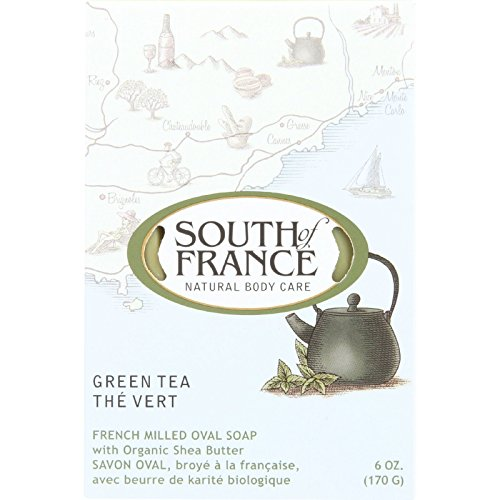 South Of France Bar Soap - Green Tea - Natural Body Care - 6 oz (Pack of 4)