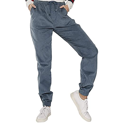 9a79b13c1fc JOFOW Womens Sport Corduroy Pants High Waisted Solid Drawstring Strappy  Casual Loose Cargo Cropped Trousers (
