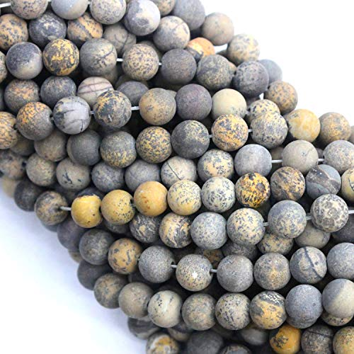 - Tacool Natural Yellow Gray Artist Jasper, Matte 6mm Gemstone Beads Round for DIY Necklace Jewelry Making Beads
