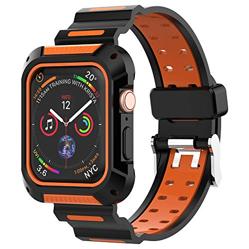 Alritz Compatible Apple Watch 4 Band 44mm, Rugged Shock-Proof Protective Case with Strap Band for Apple Watch Series 4 44mm - Black Orange