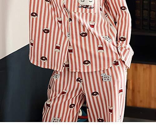 Animados El A Otoño Servicio Para Puede Máquina Algodón De Larga M Dibujos Y Rayas Suave Cardigan Manga Primavera Domicilio Pijamas Conjunto L Se Lavar 100 vxUv6q