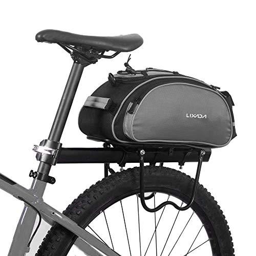 Lixada Bicycle Rear Seat Bag 13L Multifunctional Outdoor Cycling Bike Rack Seat Bag Rear Trunk Pannier Backseat Bag Handbag Shoulder Bag