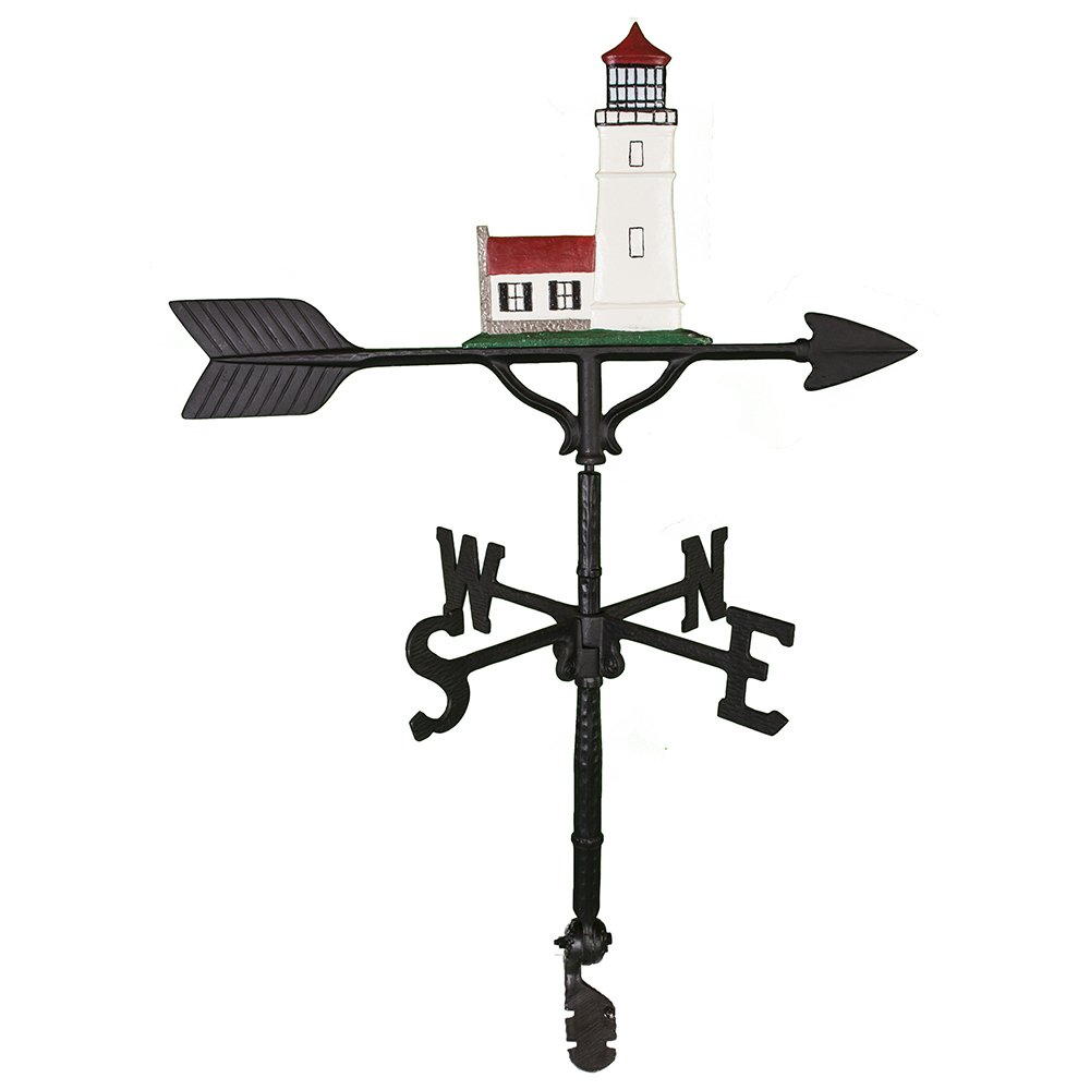 Montague Metal Products 32-Inch Weathervane with Color Cottage Lighthouse Ornament WV-292-NC