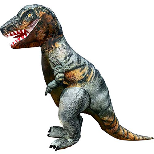 Vantina Adults Velociraptor Inflatable Dinosaur Costume T-Rex Fancy Dress Halloween Suit -