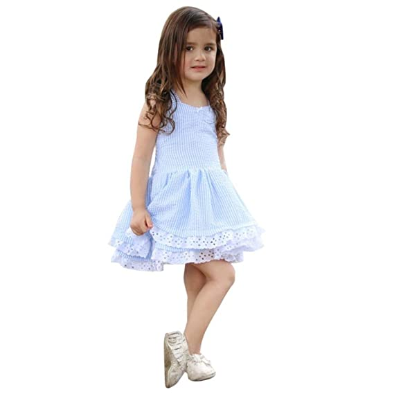 JiaMeng Vestido de Ni?a Toddler Kids Baby Girl Summer Clothes Stripe Lace Party Desfile