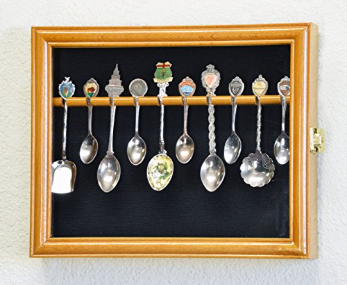 10 Spoon Display Case Cabinet Wall Mount Rack Holder w/98% UV Protection Lockable, Oak