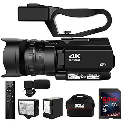 Camcorder 4K HD 48MP Video Camera for YouTube 30X Digital Zoom IR Night Vision Camcorder with Portable Handheld…