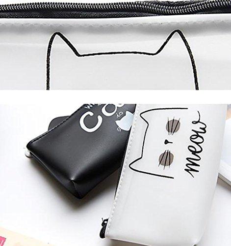 ruikey großes Fassungsvermögen Cute Cat Reißverschluss Pektin Studenten Pen Bleistift Fall Creative Pen Pouch Stationery Staubbeutel Make-up-Tasche als Geschenk b0pdFjIwra