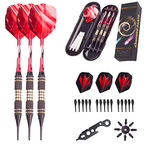 Soft tip Darts Set 18 Gram - Professional Darts Plastic Tip with Brass Barrel + Red Aluminum Shafts + 6 Pattern Flights + 1 Dart Wrench + 8 Flight Protectors for Electronic Dart Board