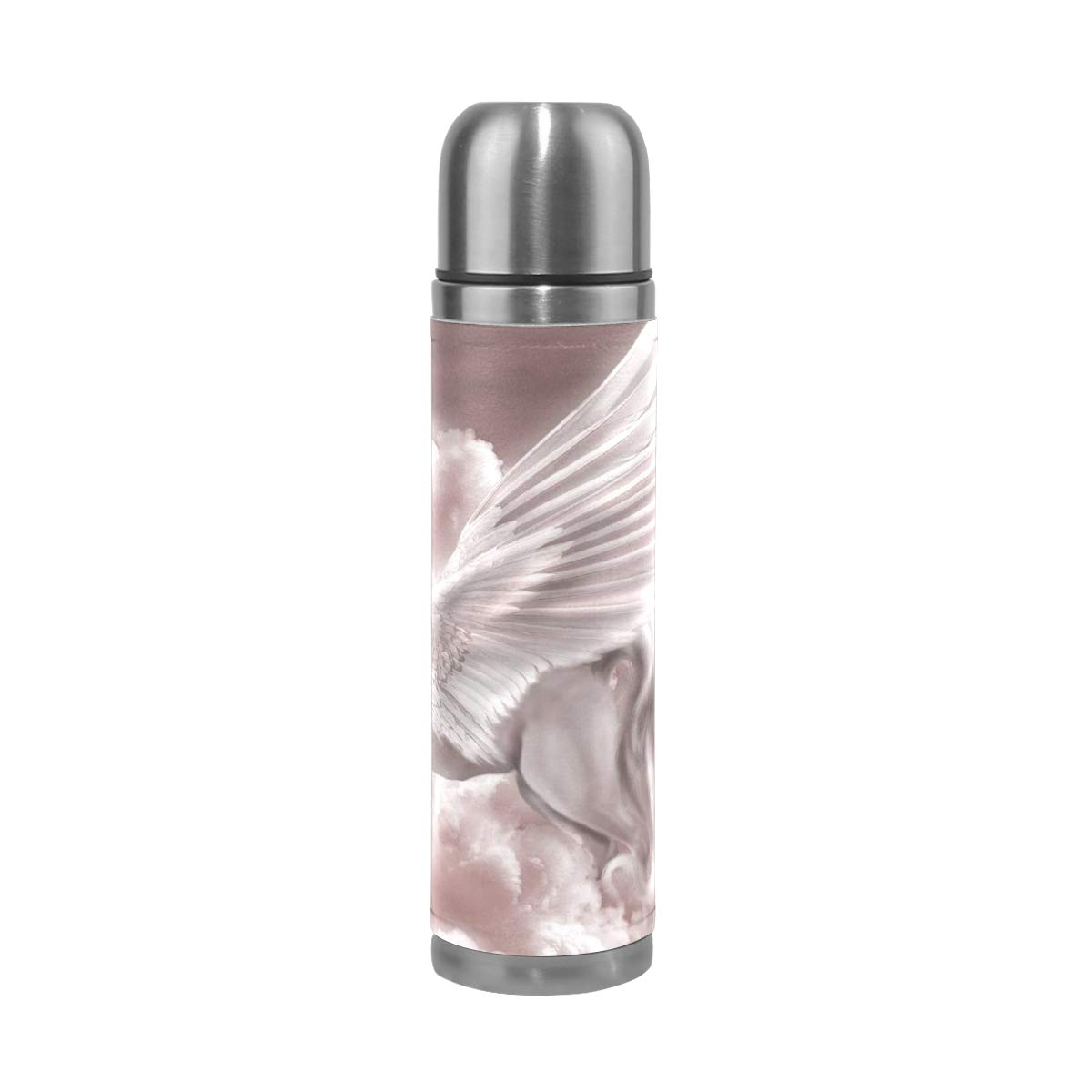OuLian Water Bottle Pegasus & Unicorn Fantasy Animals Sports Insulated Stainless Steel Water Bottles Leak Proof Double Wall Thermos Leather Cover 17 Oz
