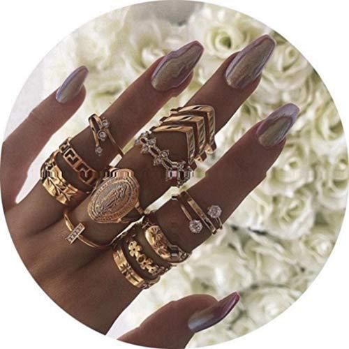 TOKO Boho Vintage Knuckle Gold Rings Set, Joint Punk Nail Ring Set for Women Girls