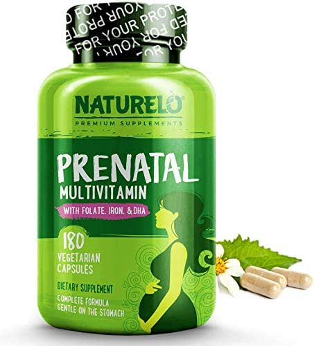 NATURELO Prenatal Whole Food Multivitamin - with Natural Iron, Folate and Calcium - Vegan & Vegetarian - Non-GMO - Gluten Free - 180 Capsules | 2 Month Supply