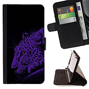 DEVIL CASE - FOR Samsung Galaxy S6 EDGE - Leopard Moonlight Big Wild Cat Blue Spots - Style PU Leather Case Wallet Flip Stand Flap Closure Cover