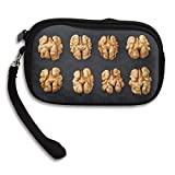 Men&Women Small Wallet Shelled Walnuts In A Row On Black Background Easy To Carry Storage Bag Purse