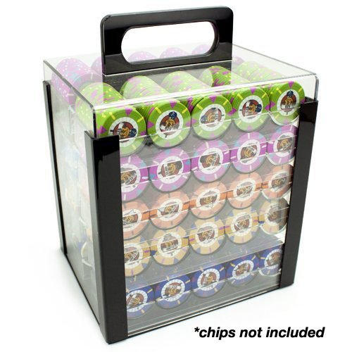 Clear Acrylic Chip Tray (Brybelly Acrylic Poker Chip Carrier (1000-Count) with Chip Trays)