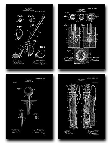 Golf Patent Print Set of Four Art Posters - Black Matte