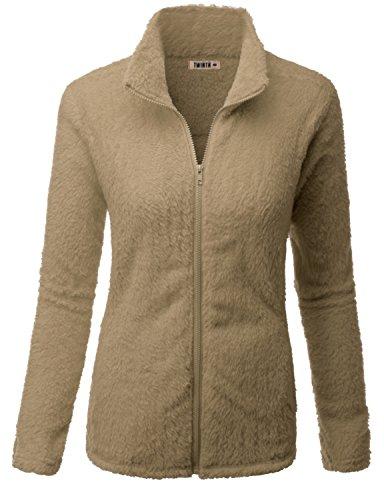 Doublju Womens Fasionable Thermal Long Sleeve Big Size Fleece Jacket BEIGE,3XL - Pink Jordan Jacket