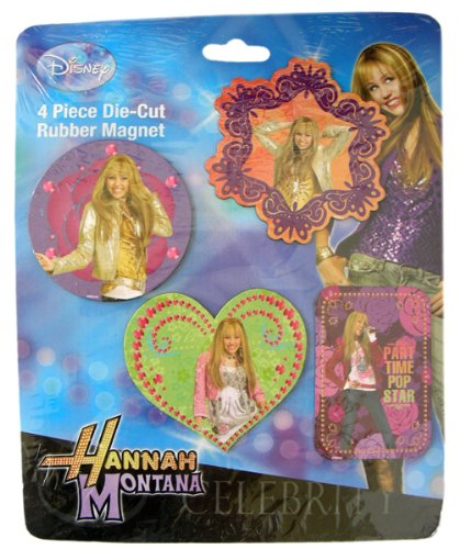 - Disney Hannah Montana 4 Piece Die-Cut Rubber Celebrity Magnet Set