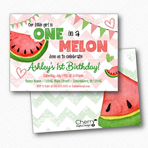 One in a melon Watermelon Girl Birthday Party invitations | Envelopes Included ()