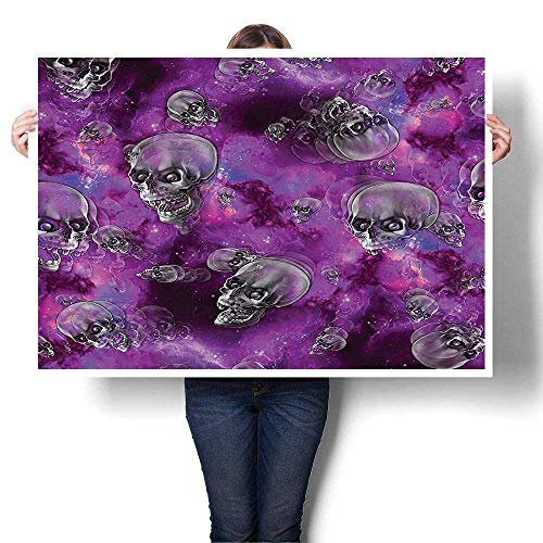 SCOCICI1588 Modern Canvas Paintings, Horror Movie Themed Flying Skull Heads Halloween in Outer Space Bathroom Paintings Modern Home Decor Wall Art Painting,56