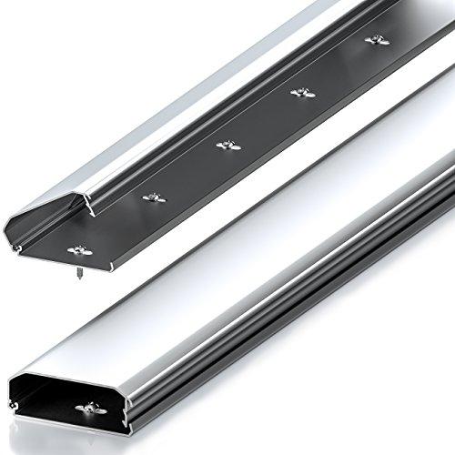 Canaleta universal deleyCON para cables y líneas con innovador mecanismo de plegado lateral y elaborada en aluminio de primera calidad, longitud 50 cm, ...